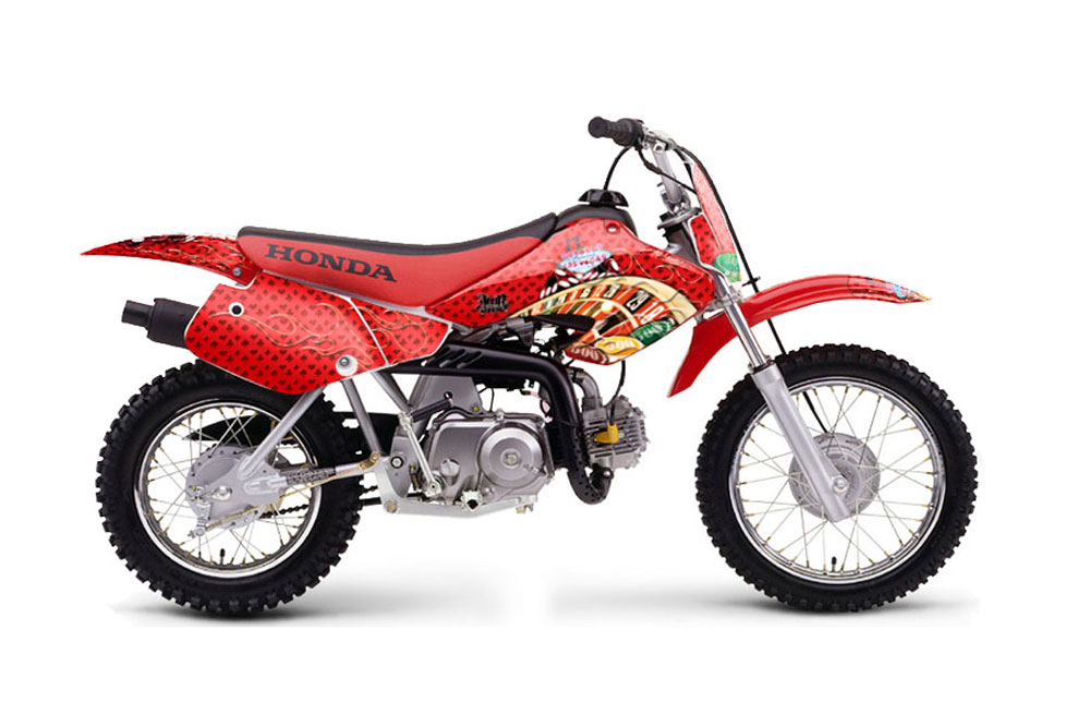 Honda XR50 Dirt Bike Graphics: Checkered Skull - Red MX Graphic Decal Wrap Kit