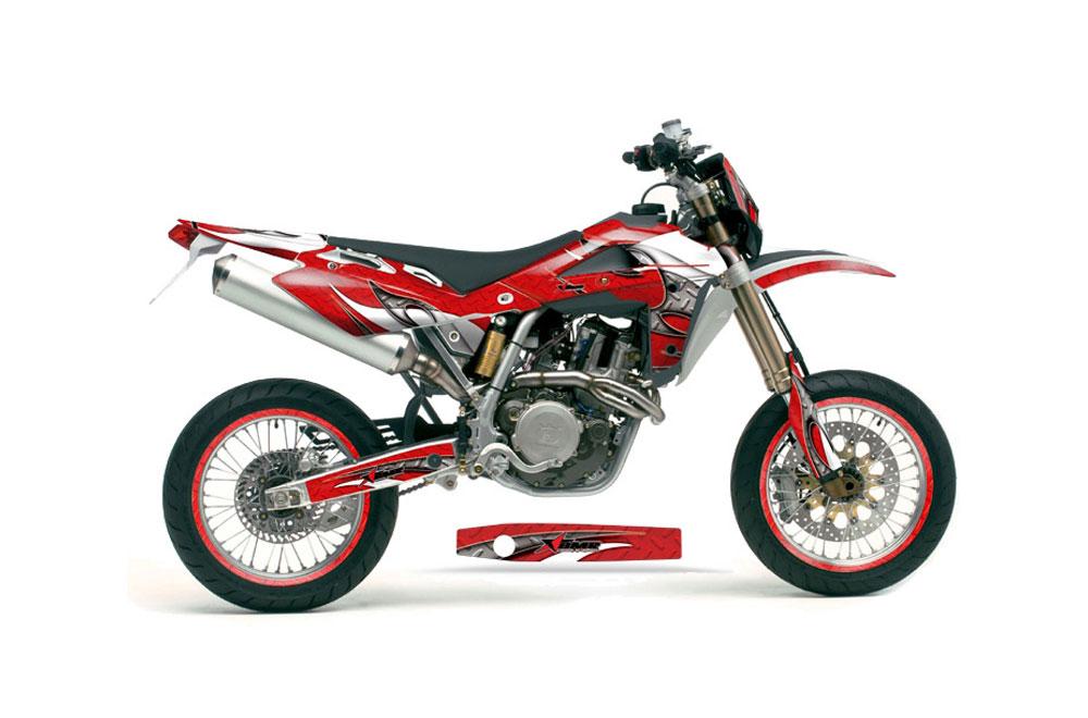 Husqvarna  SM 450 Dirt Bike Graphics: Tribal Flames - Red MX Graphic Wrap Kit (2005-2010)