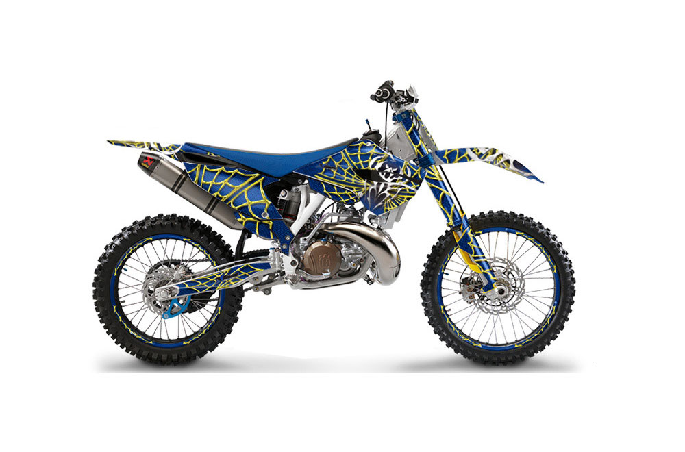 Husqvarna  TC 300 Dirt Bike Graphics: Widow Maker - Yellow Blue MX Graphic Wrap Kit (2014-2016)