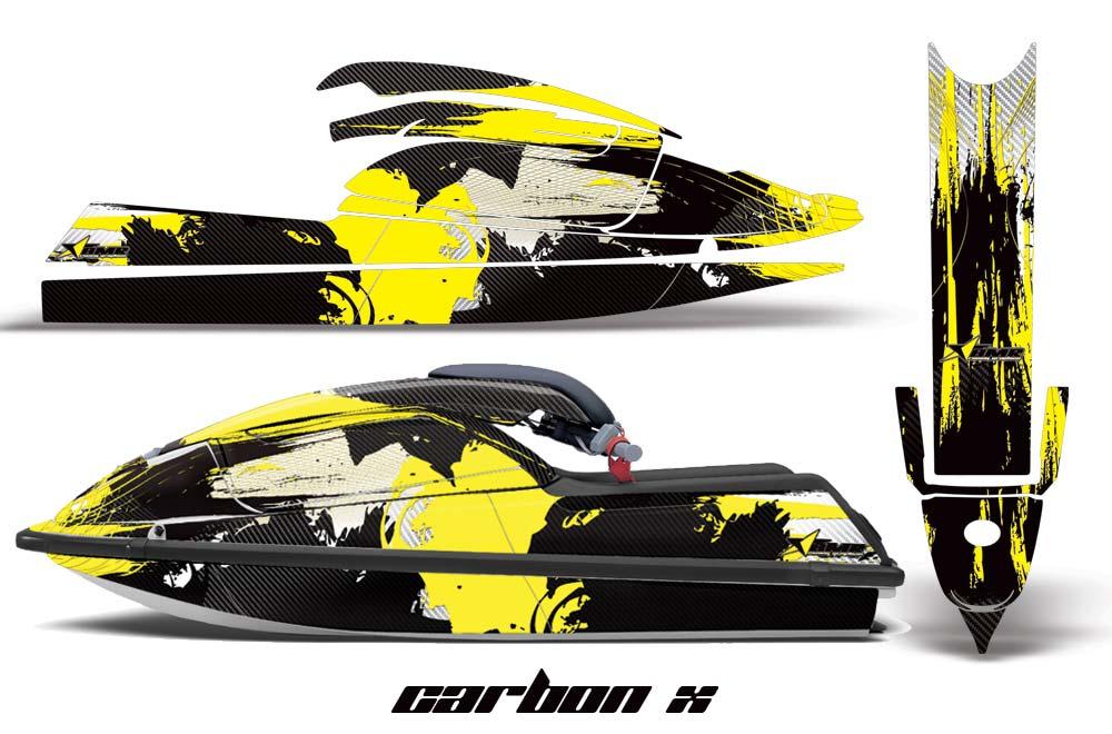 Kawasaki 750 SX SXR Graphics: Carbon X - Yellow Jet Ski PWC Graphic Decal Wrap Kit