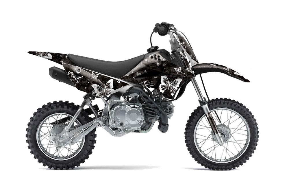 kawasaki klx110 dirt bike graphics: butterfly - black mx graphic