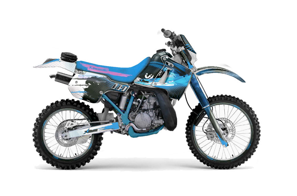 Kawasaki KDX200 Dirt Bike Graphics: Carbon X - Blue MX Graphic Wrap Kit (1989-1994)