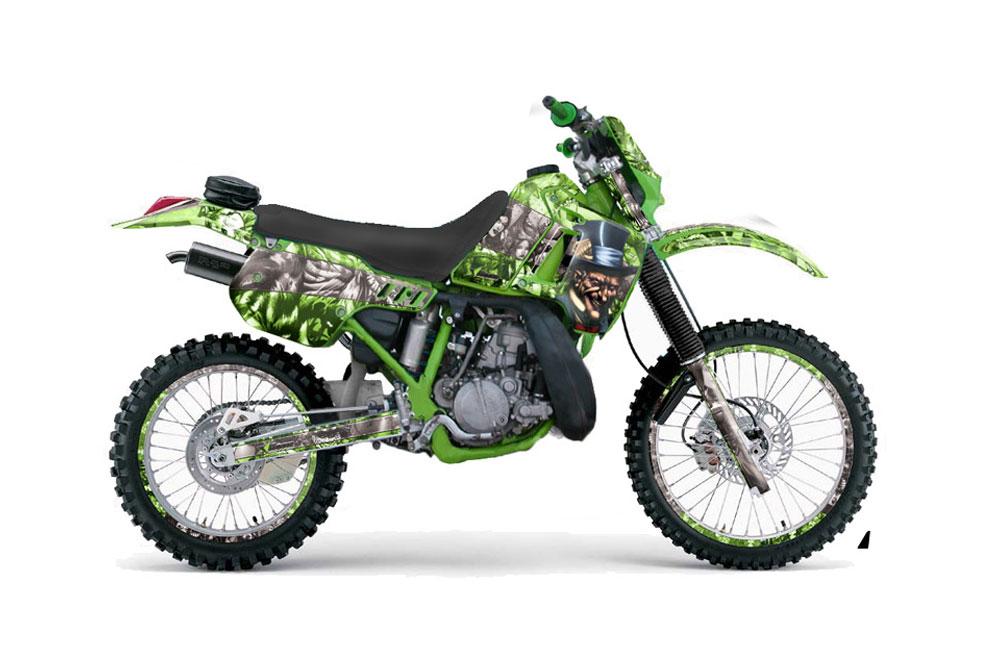 Kawasaki KDX200 Dirt Bike Graphics: Mad Hatter - Green Silver MX Graphic Wrap Kit (1989-1994)