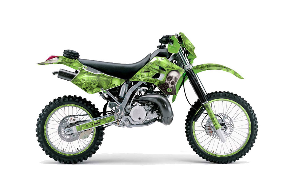 Kawasaki KDX200 Dirt Bike Graphics: Bone Collector - Green MX Graphic Wrap Kit (1995-2006)