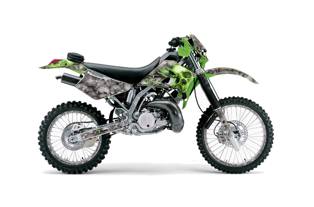 Kawasaki KDX200 Dirt Bike Graphics: Checkered Skull - Green MX Graphic Wrap Kit (1995-2006)
