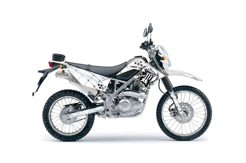 Kawasaki KLX125 D Tracker Dirt Bike Graphics: Silver Star Reloaded - Black White MX Graphic Wrap Kit (2010-2016)