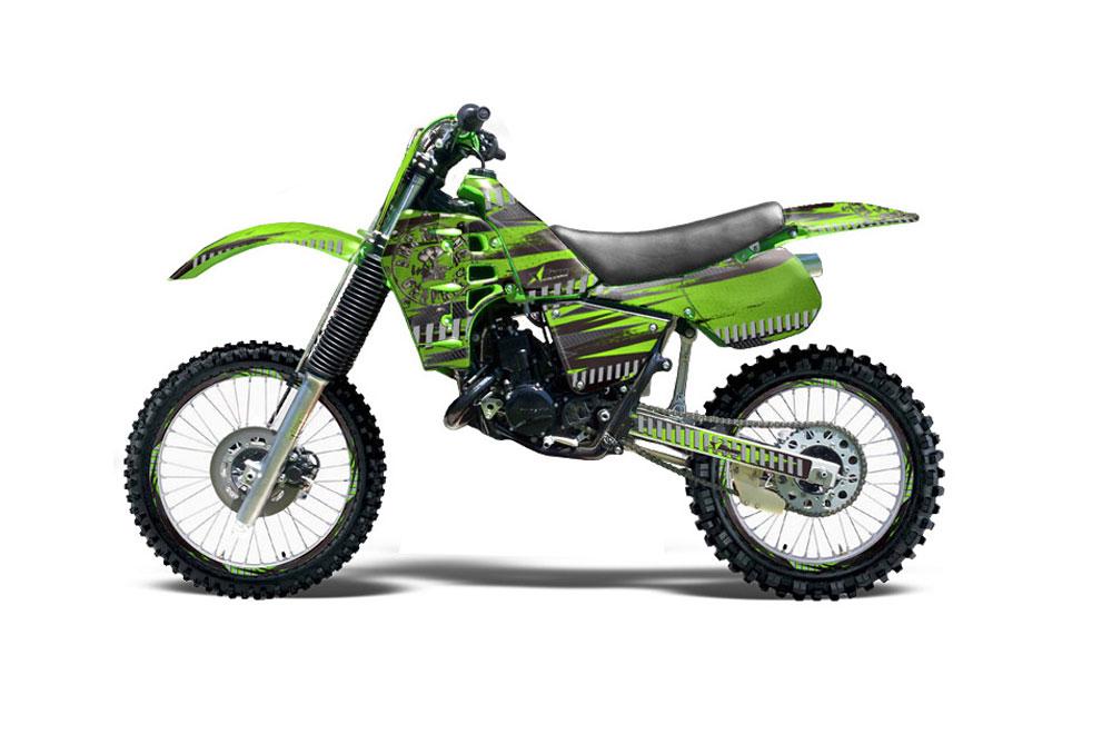 Kawasaki Kx125 Dirt Bike Graphics Nuke Green Mx Graphic Wrap Kit