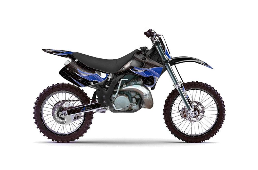 Kawasaki Kx125 Dirt Bike Graphics Tribal Flame Blue Mx Graphic