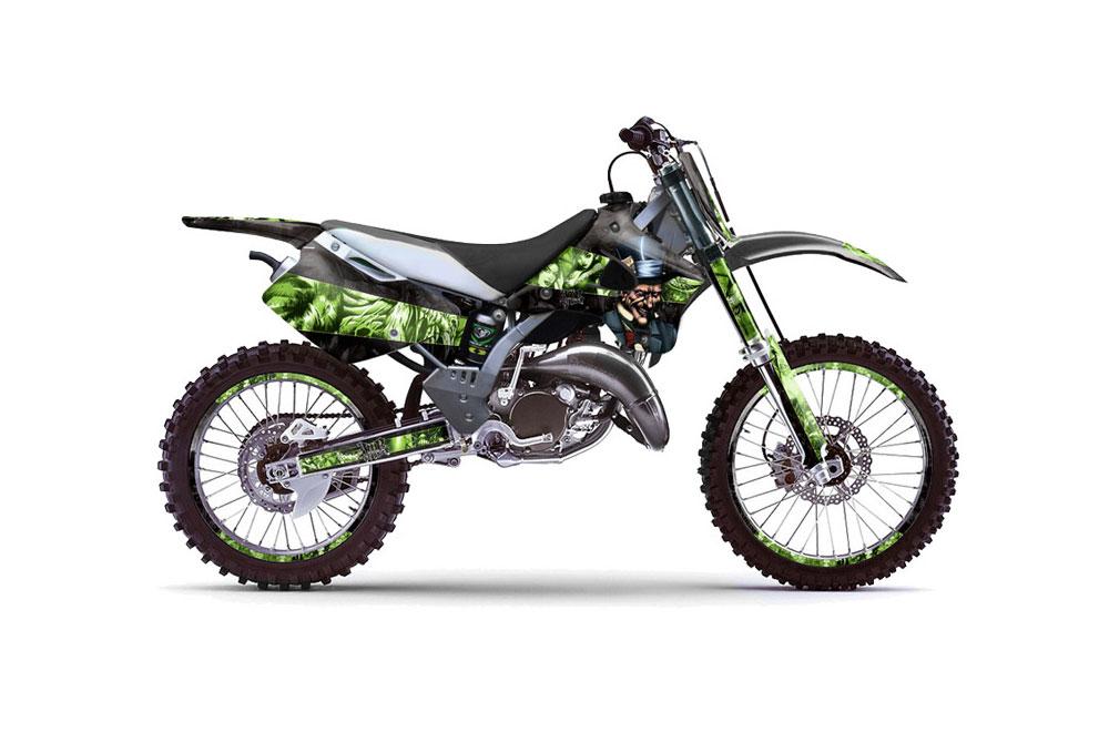 kawasaki kx125 dirt bike graphics: mad hatter - black green mx
