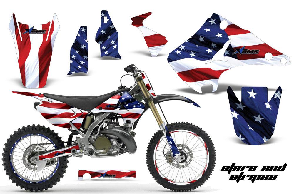 Kawasaki KX250 Dirt Bike Graphics: Stars and Stripes - MX Graphic Wrap Kit (2003-2016)