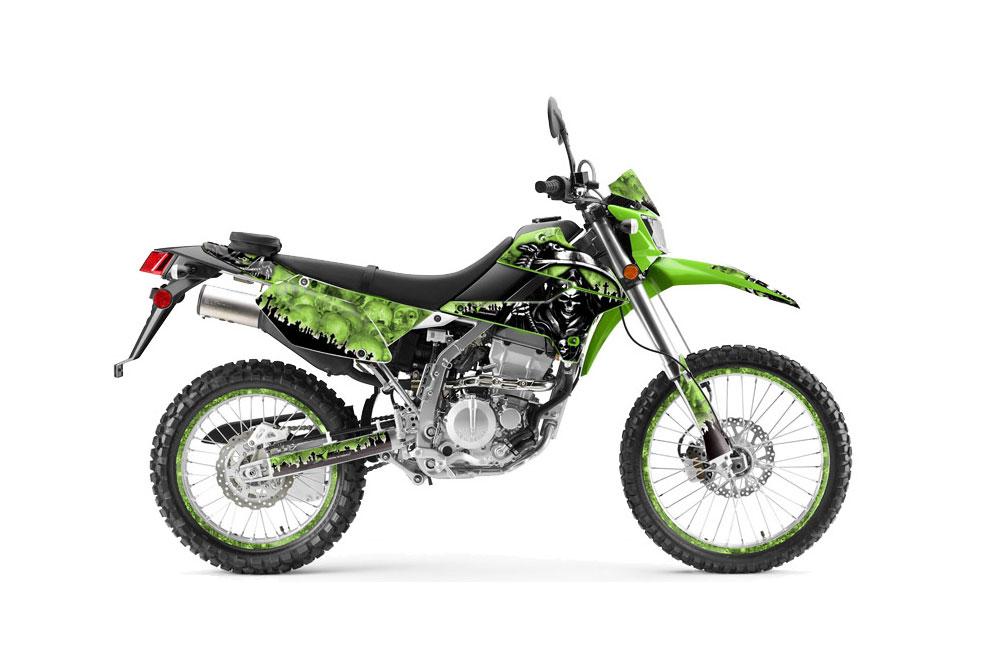 Kawasaki KLX250 Dirt Bike Graphics: Reaper - Green MX Graphic Wrap Kit (2008-2016)