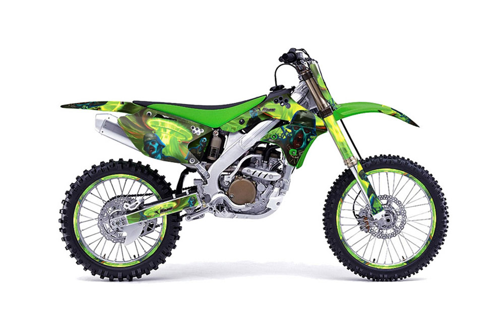 Kawasaki KX250F Dirt Bike Graphics: Zombie Trooper - Green MX Graphic Wrap Kit (2006-2008)