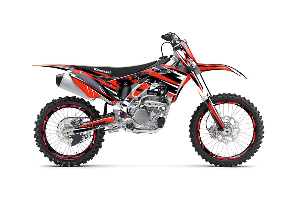 kawasaki kx250f dirt bike graphics: attack - red mx graphic wrap
