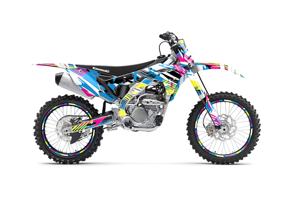 Kawasaki KX250F Dirt Bike Graphics: Flashback - MX Graphic Wrap Kit (2017)