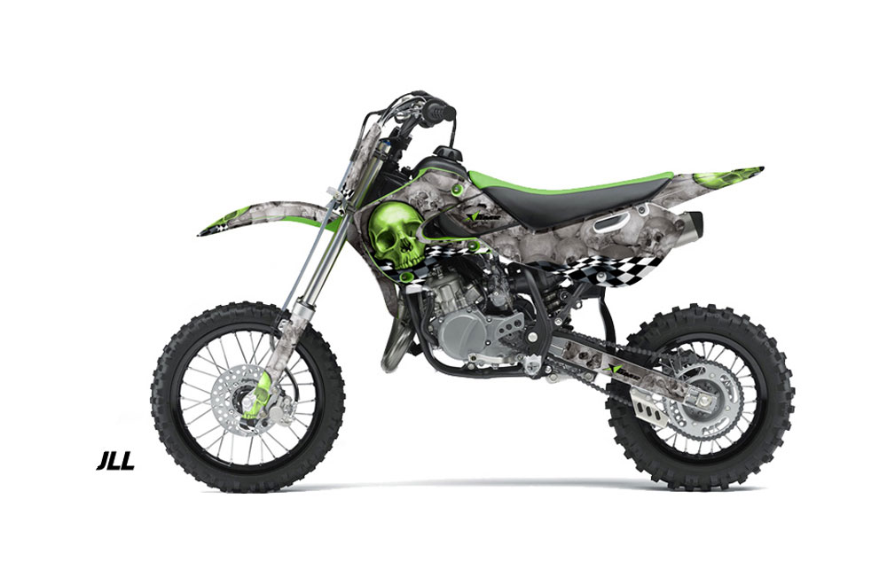 Kawasaki KX65 Dirt Bike Graphics: Checkered Skull - Green MX Graphic