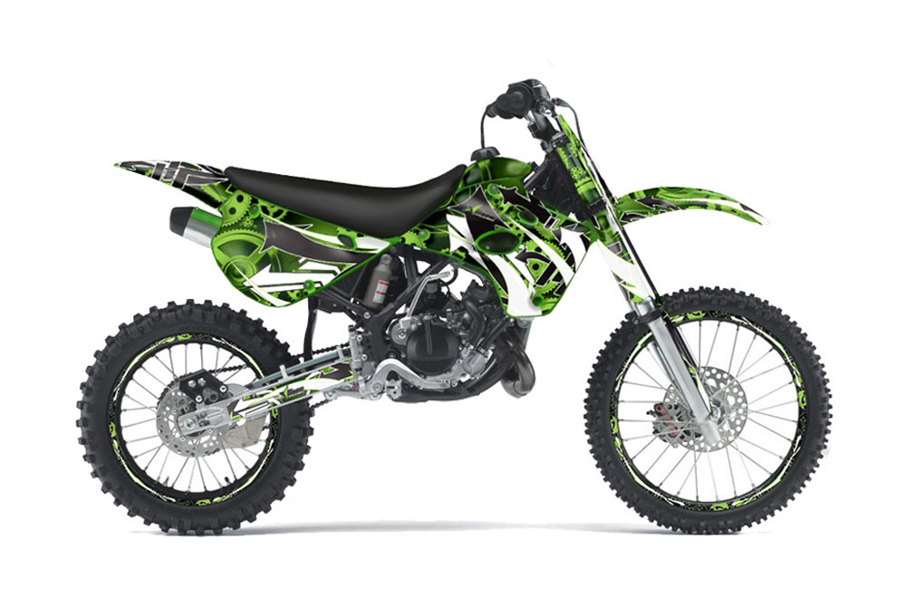 kawasaki kx80 dirt bike graphics: expo - green mx graphic wrap kit