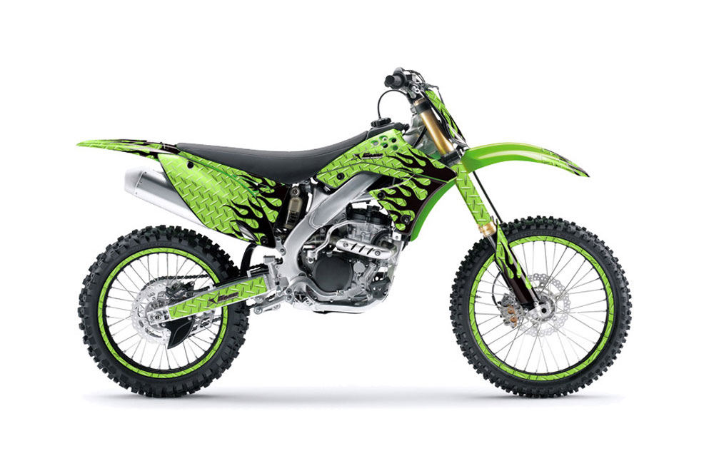 Kawasaki KXF250 Dirt Bike Graphics: Diamond Flames - Green MX Graphic Wrap Kit (2009-2012)