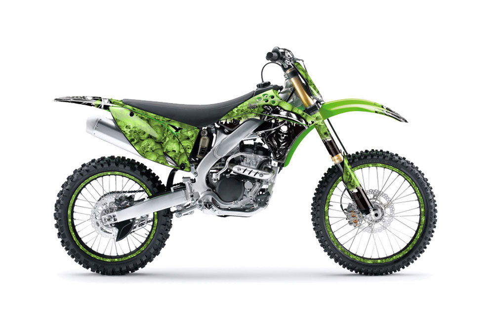 Kawasaki KXF250 Dirt Bike Graphics: Reaper - Green MX Graphic Wrap Kit (2009-2012)