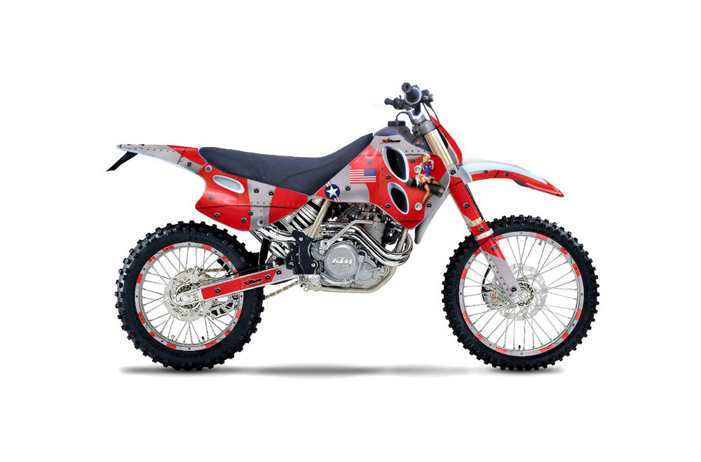 KTM C0 EXC 4 Stroke Dirt Bike Graphics (1993-1997) T Bomber - Red MX  Graphic Wrap Kit