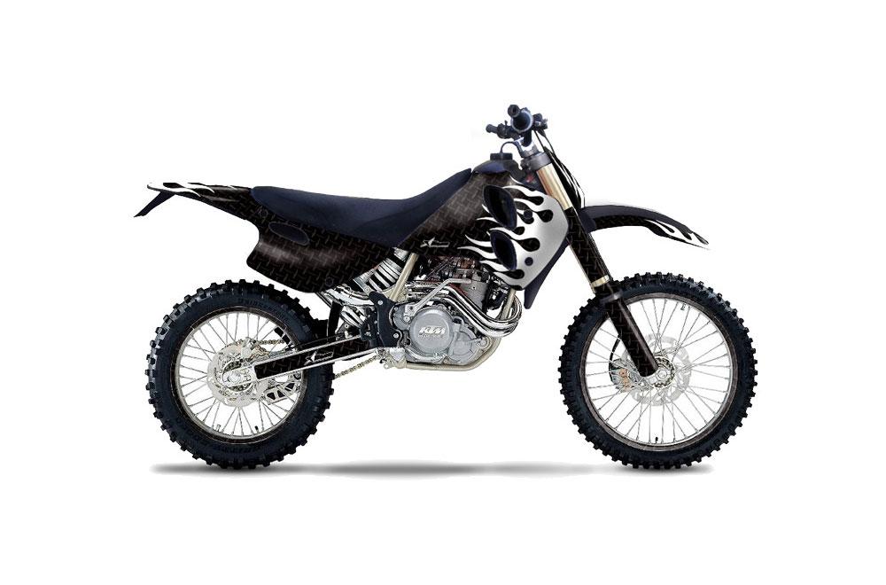 KTM C0 MXC 4 Stroke Dirt Bike Graphics: Diamond Flames - Black MX Graphic Wrap Kit (1993-1997)