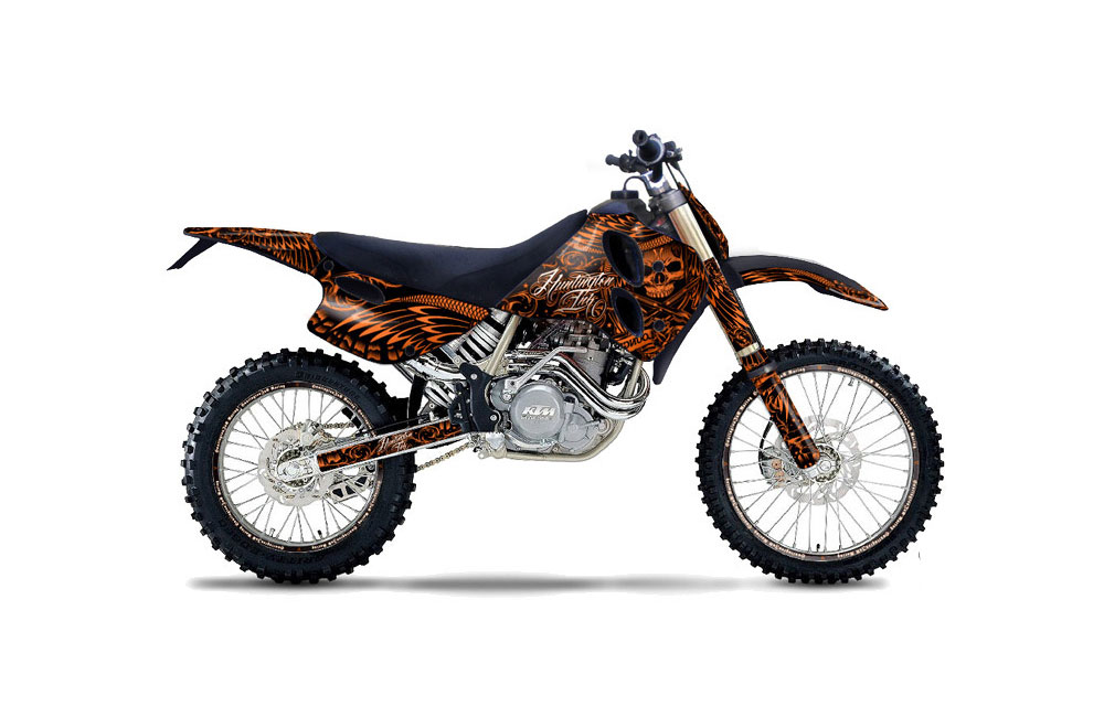 KTM C0 EXC 4 Stroke Dirt Bike Graphics: Skulls and Hammers - Orange MX Graphic Wrap Kit (1993-1997)