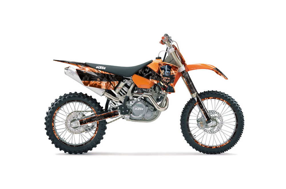 KTM C1 MXC Dirt Bike Graphics: Reaper - Orange MX Graphic Wrap Kit (2003-2004)