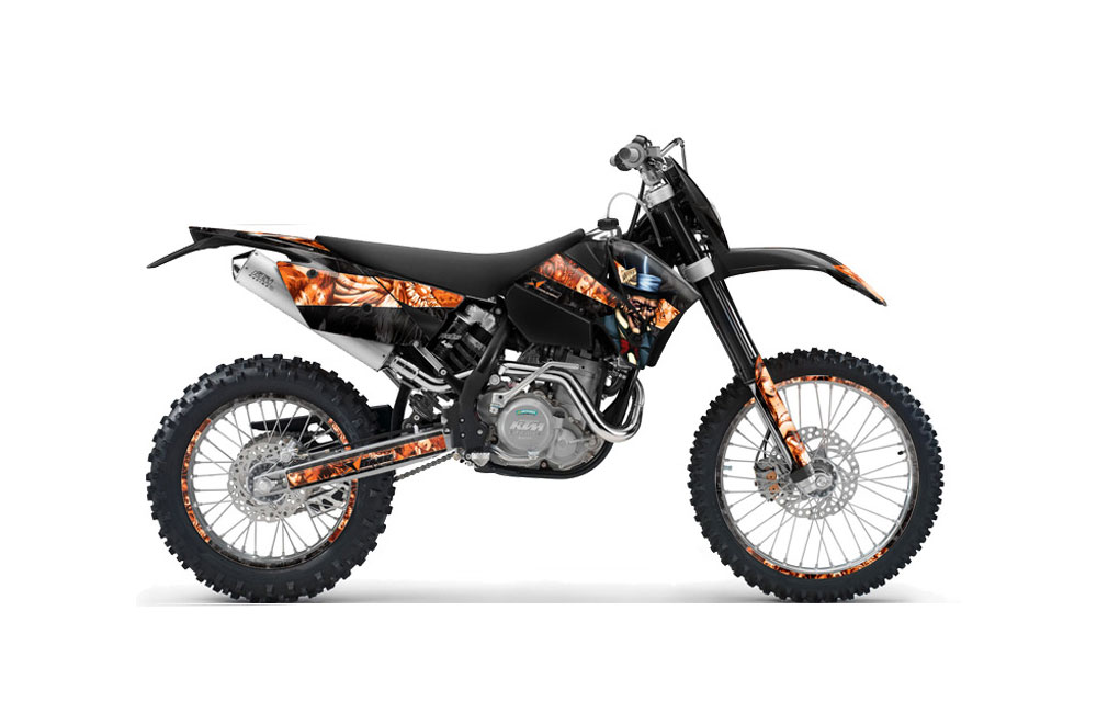 KTM C4 SX Dirt Bike Graphics: Mad Hatter - Black Orange MX Graphic Wrap Kit (2005-2006)