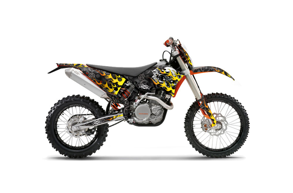 KTM C5 XC 125 Dirt Bike Graphics: Motorhead - Black MX Graphic Wrap Kit (2008-2010)