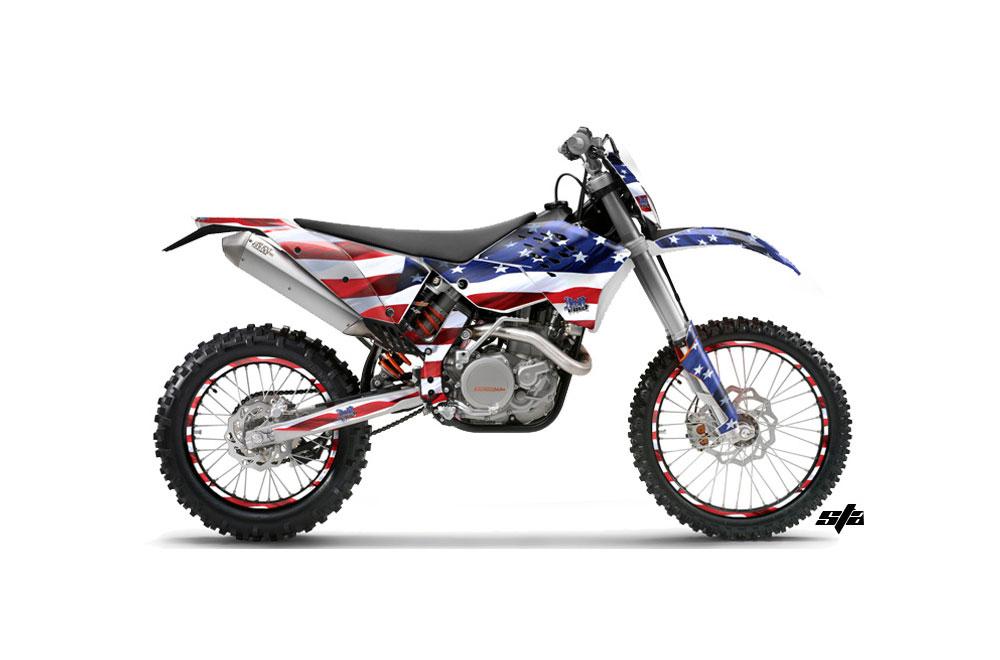KTM C5 XC 125 Dirt Bike Graphics: Stars and Stripes - MX Graphic Wrap Kit (2008-2010)