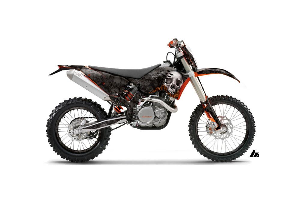 KTM C5 XC 125 Dirt Bike Graphics: Bone Collector - Black MX Graphic Wrap Kit (2008-2010)