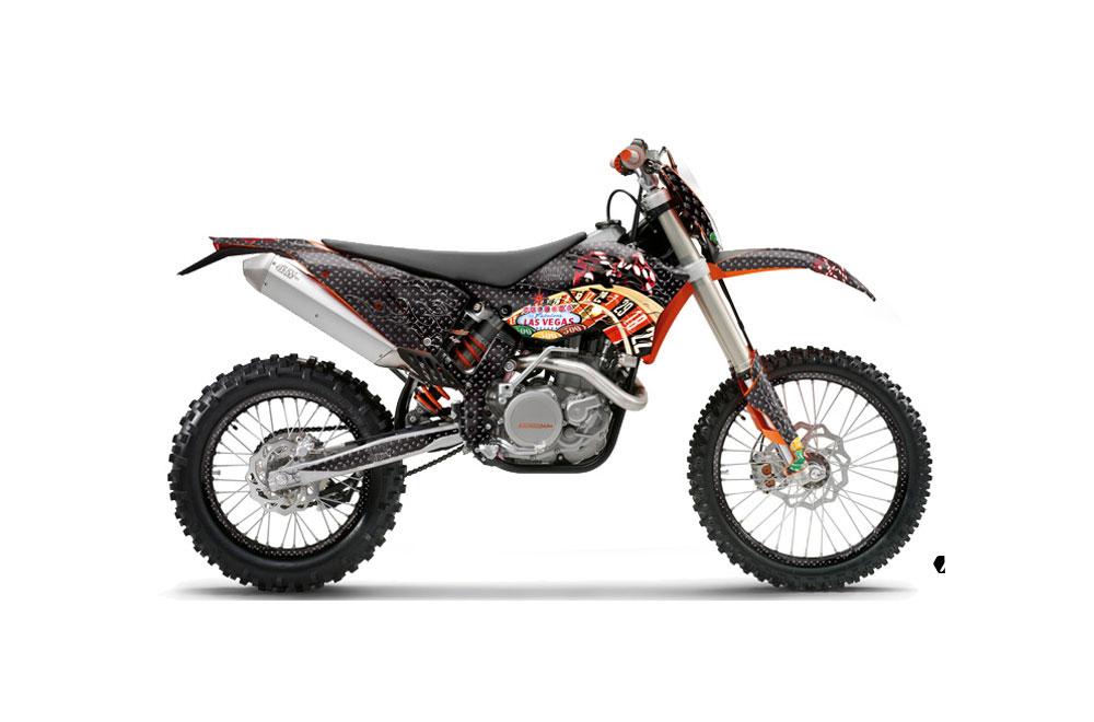 KTM C5 XC 125 Dirt Bike Graphics: Vegas Baller - Black MX Graphic Wrap Kit (2008-2010)