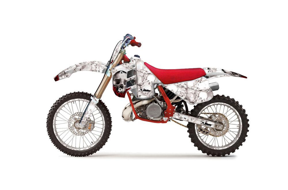 KTM C8 250 Dirt Bike Graphics: Bone Collector - White MX Graphic Wrap Kit (1990-1992)