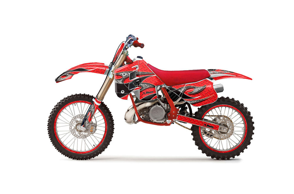 KTM C8 300 Dirt Bike Graphics: Tribal Flames - Red MX Graphic Wrap Kit (1990-1992)