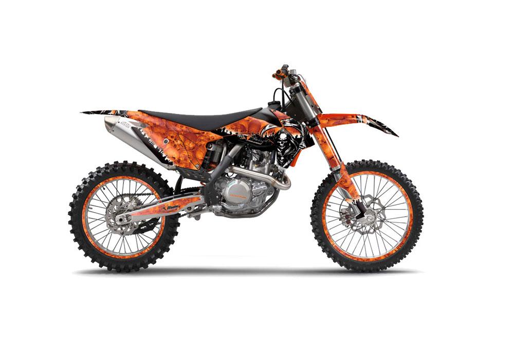 KTM C9 SX 450 Dirt Bike Graphics: Reaper - Orange MX Graphic Wrap Kit (2013-2015)