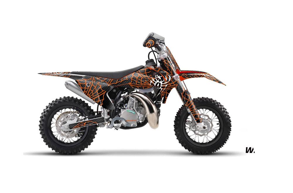 KTM SX 50 Adventure Jr Dirt Bike Graphics: Widow Maker - Orange MX Graphic Wrap Kit (2016)