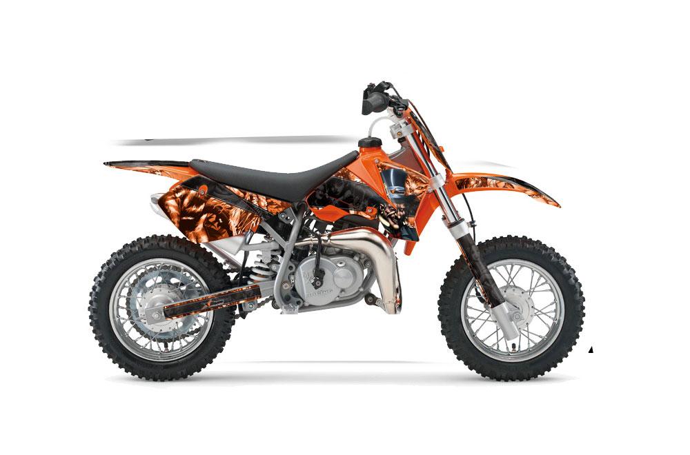 KTM SX 65 Dirt Bike Graphics: Mad Hatter - Orange Black MX Graphic Wrap Kit (2002-2008)