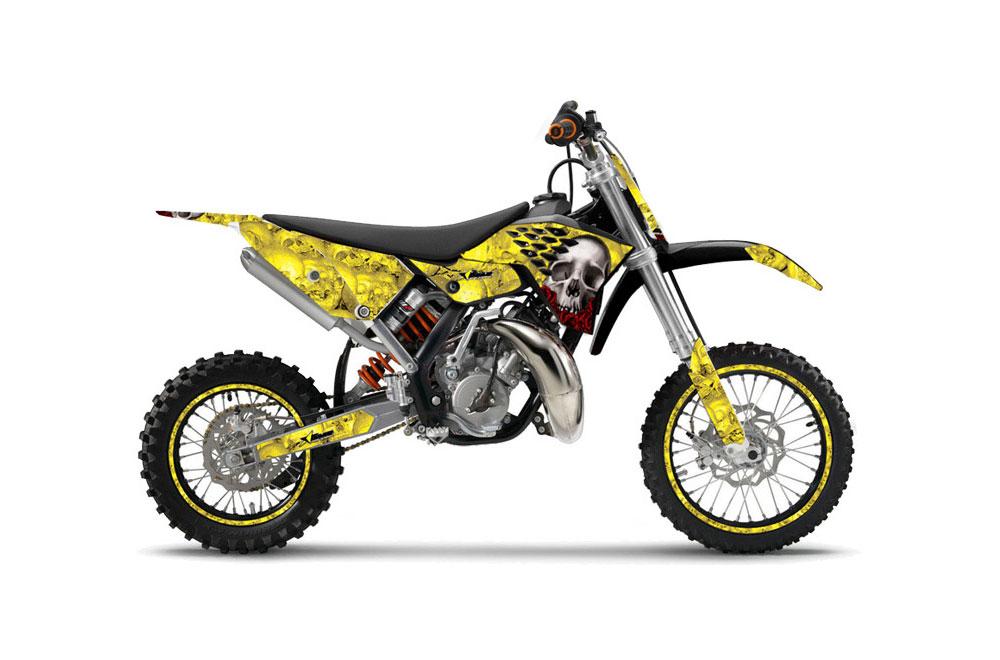 KTM SX 65 Dirt Bike Graphics: Bone Collector - Yellow MX Graphic Wrap Kit (2009-2015)