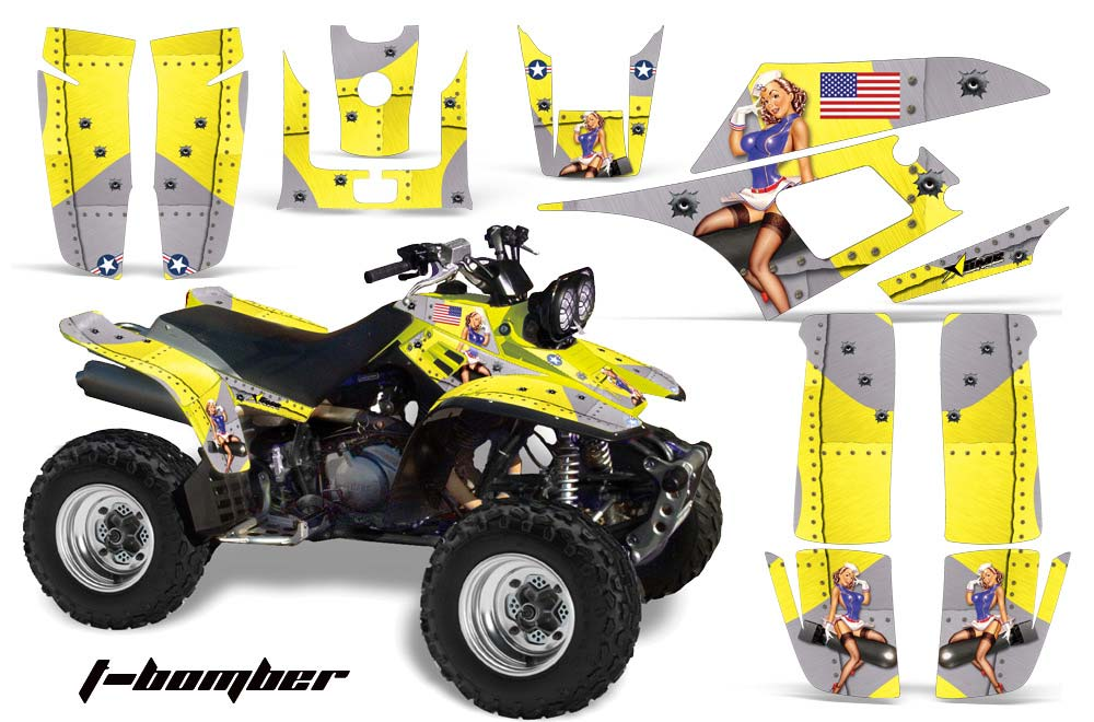 Yamaha Warrior 350 Graphics Decal kit Digital Camo Yellow Free Custom Service