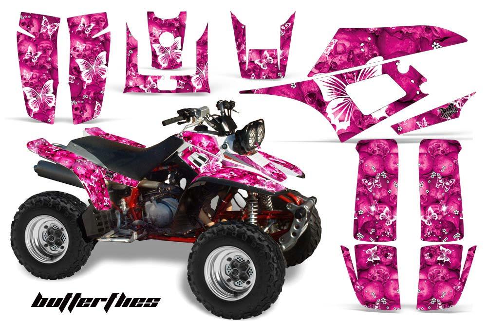 Yamaha Warrior 350 ATV Graphics: Butterflies - Pink Quad Graphic Decal Wrap Kit