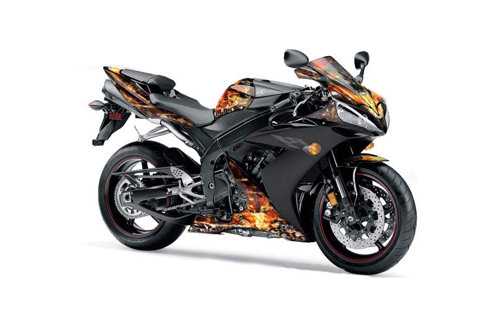 yamaha r1 street bike graphics firestorm black sport bike graphic