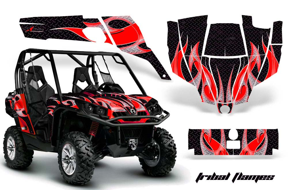Can-Am Commander 1000/800 UTV Graphics (All Years) Tribal Flames - Black  Red Side by Side Graphic Decal Wrap Kit