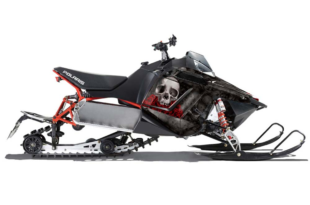 Polaris PRO-R, RMK, Rush, Assault Sled Graphics: Bone Collector - Black Snowmobile Graphic Decal Wrap Kit