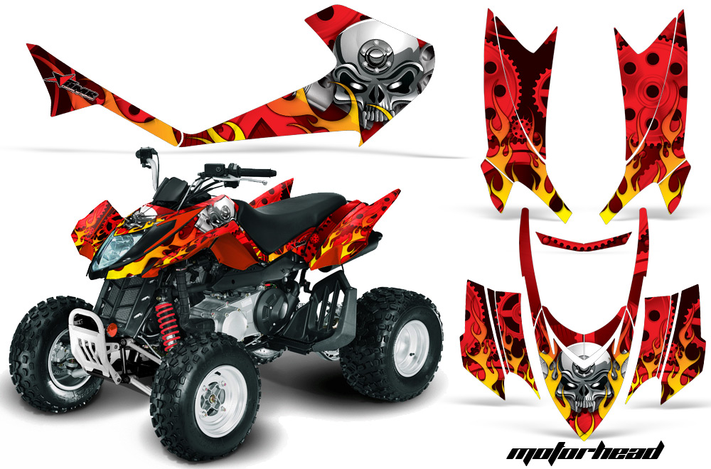 Arctic Cat DVX250 ATV Graphics: Motorhead - Red Quad Graphic Decal Wrap Kit