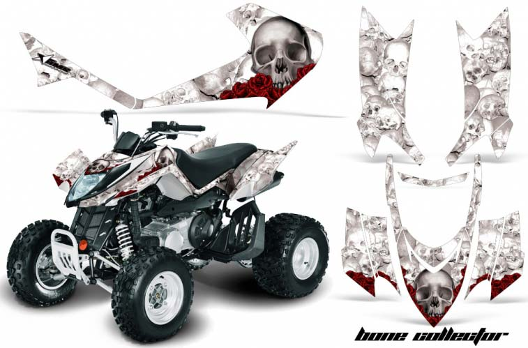 Arctic Cat DVX250 ATV Graphics: Bone Collector - White Quad Graphic Decal Wrap Kit