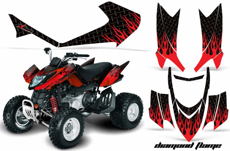 Arctic Cat DVX250 ATV Graphics: Diamond Flame - Red Black Quad Graphic Decal Wrap Kit