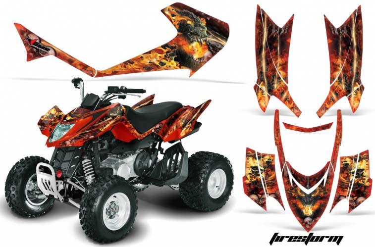 Arctic Cat DVX250 ATV Graphics: Firestorm - Red Quad Graphic Decal Wrap Kit