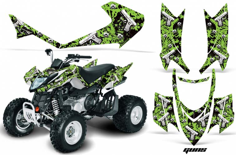 Arctic Cat DVX250 ATV Graphics: Guns - Green Quad Graphic Decal Wrap Kit