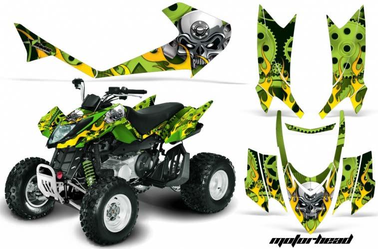 Arctic Cat DVX250 ATV Graphics: Motorhead - Green Quad Graphic Decal Wrap Kit