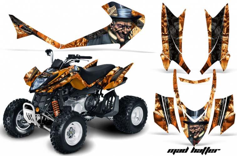 Arctic Cat DVX250 ATV Graphics: Mad Hatter - Orange Quad Graphic Decal Wrap Kit