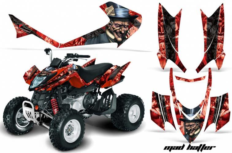 Arctic Cat DVX250 ATV Graphics: Mad Hatter - Red Black Quad Graphic Decal Wrap Kit